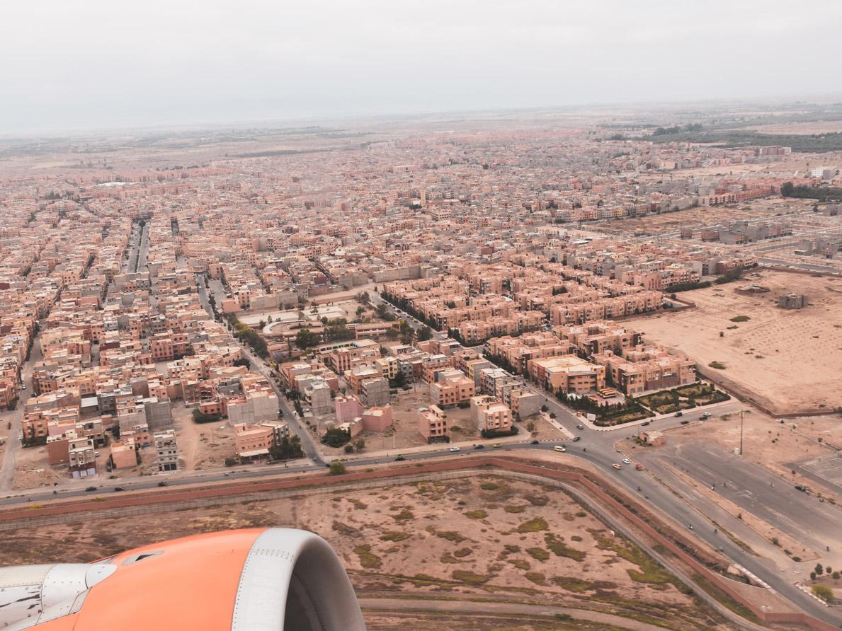 Marrakesch von oben, Flugzeug, Roadtrip Marokko